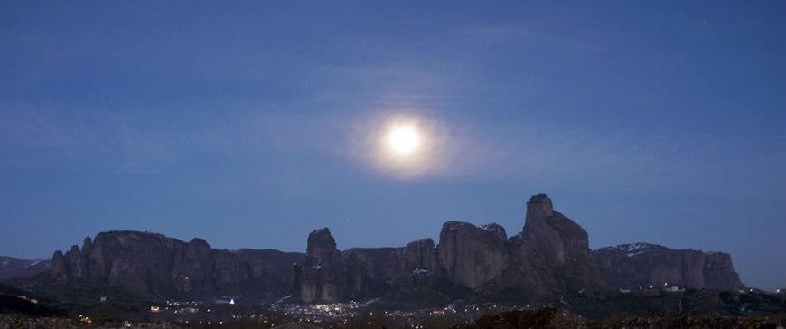 Approaching Meteora under moonlight
