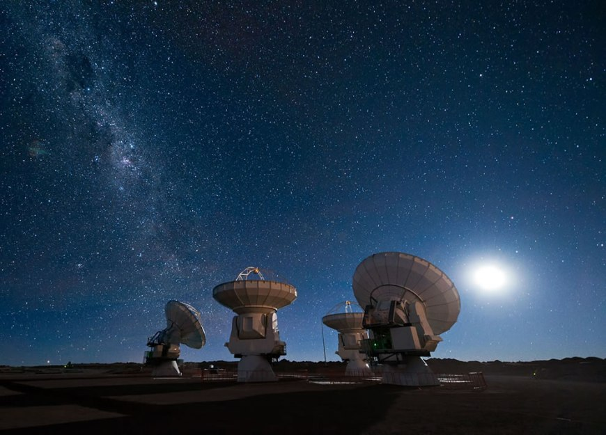 ESO ALMA antennas under the Milky Way