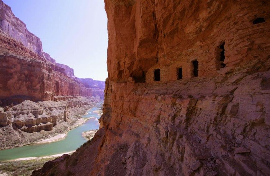 Ancestral Puebloan granaries high above the Colorado River at Nankoweap Creek, Grand Canyon