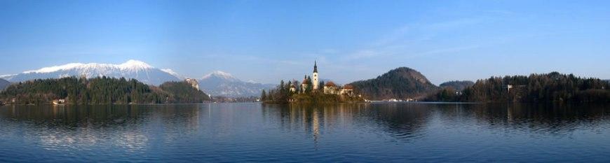 Bled lake, castle and parish church