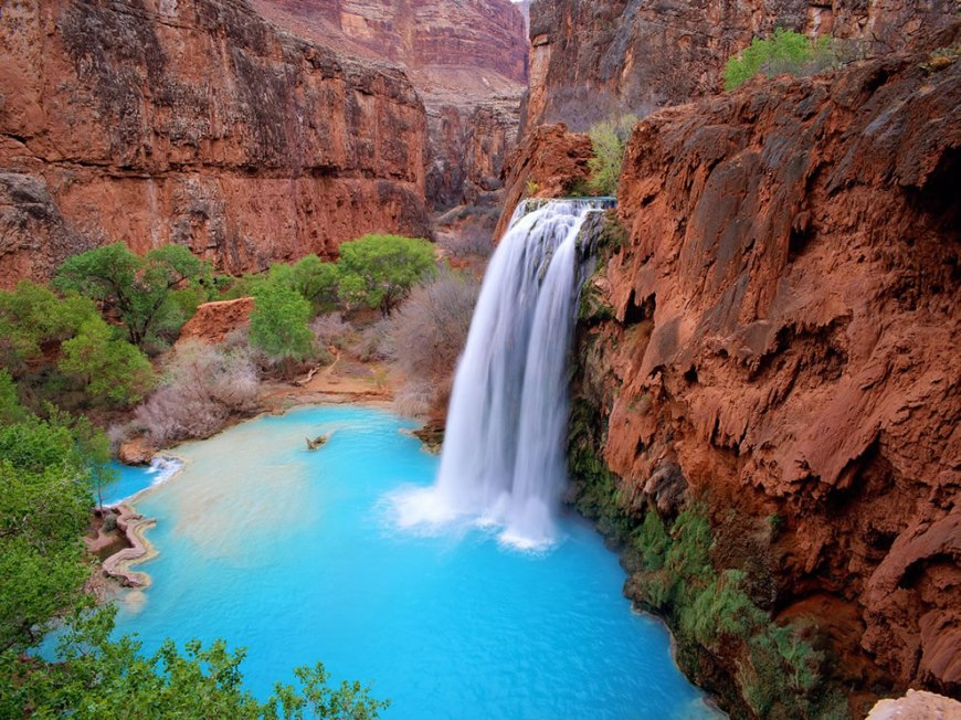 Havasu Falls - a waterfall located on the Havasupai Indian Reservation in the Grand Canyon