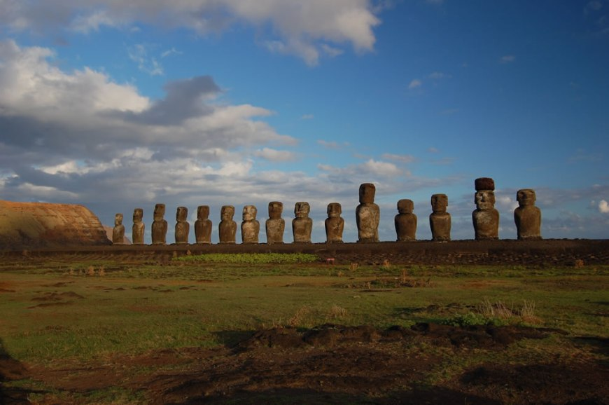 Easter Island Moai facing inland at Ahu Tongariki, restored by Chilean archaeologist Claudio Cristino in the 1990s