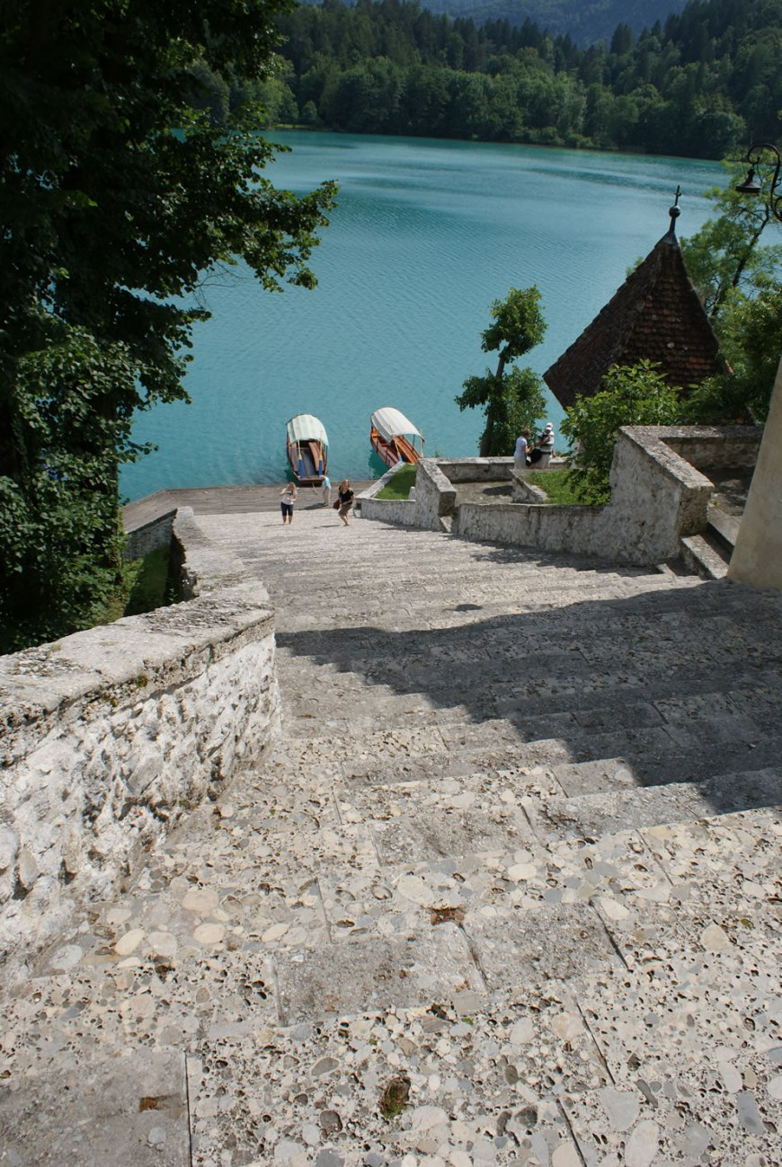 Ninety-nine stairs to the Pilgrimage Church of the Assumption of Mary - Bled Island, Lake Bled, Slovenia
