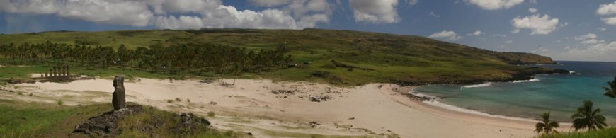 Panorama of Anakena beach, Easter Island