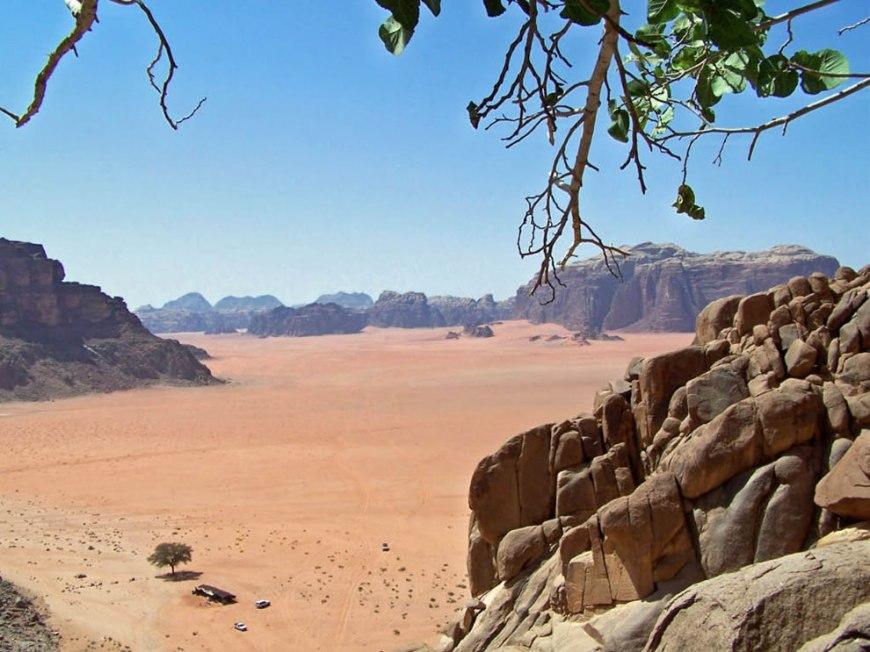 Activity below in the desert sands of Wadi Rum