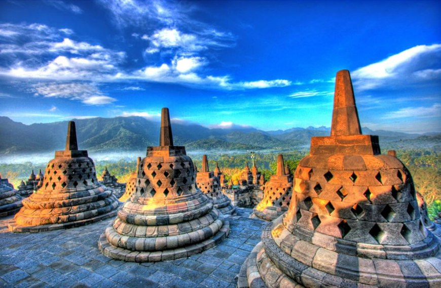 Borobudur stupa at west side