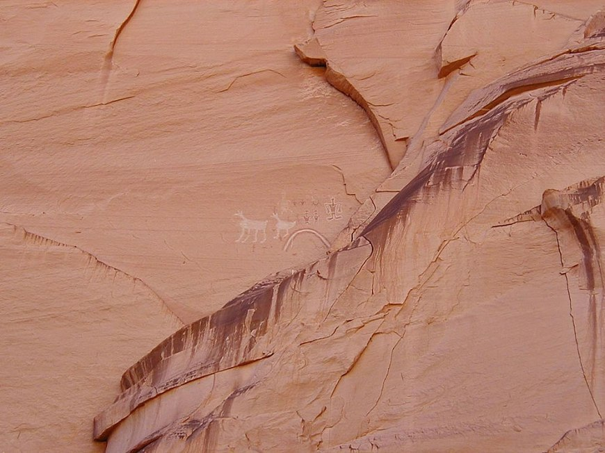Canyon de Chelly National Monument, Arizona, USA. Rock art panel near Antelope House