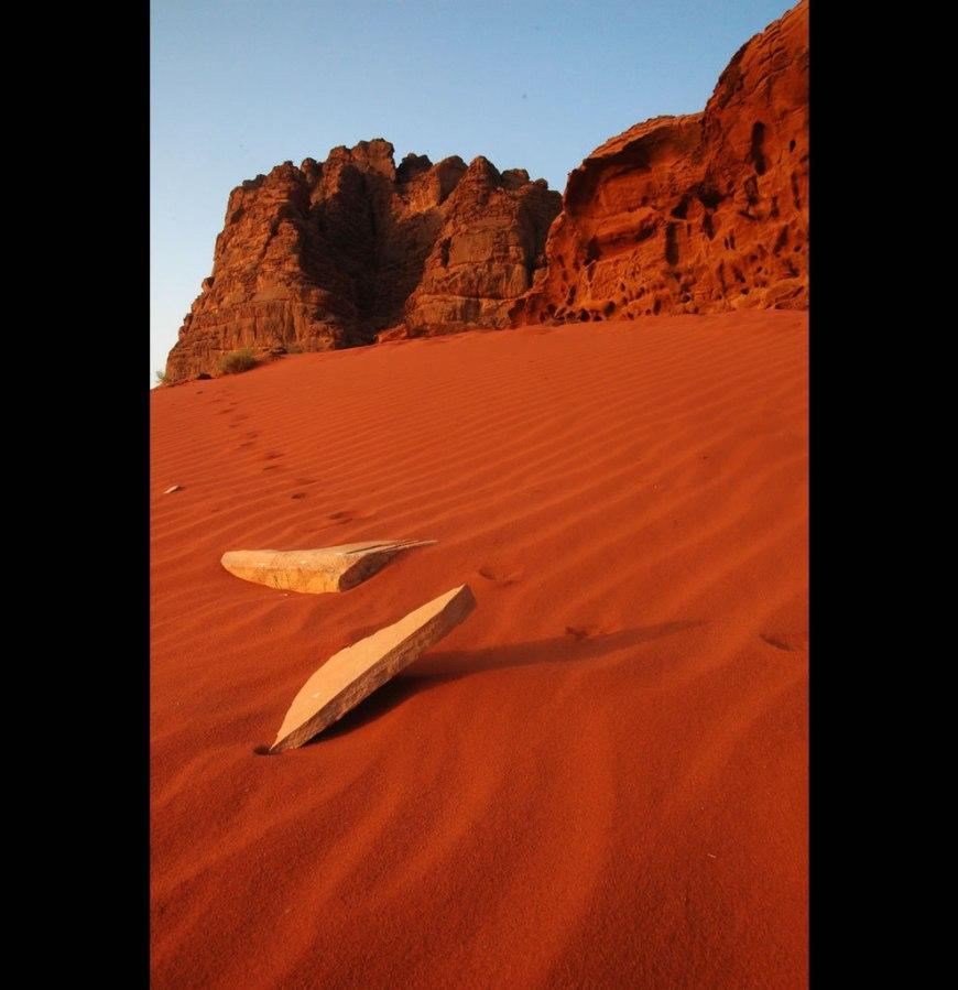 hot red desert sands of wadi rum