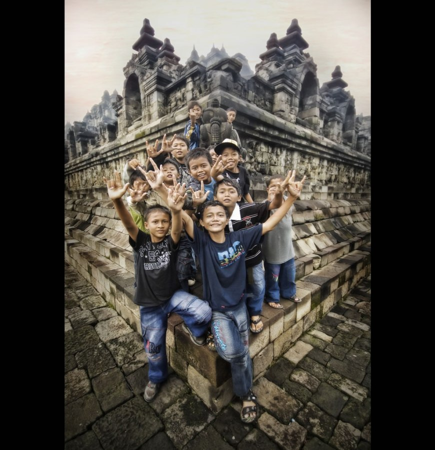Explosion of Kids in Indonesia at Borobudur wanting in pic