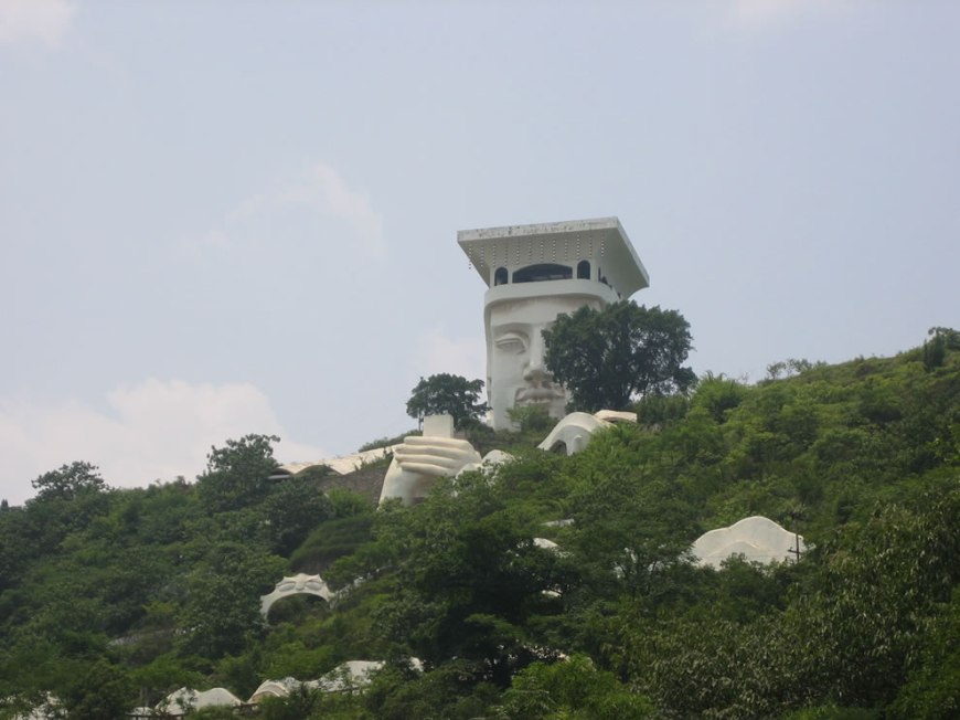 Fengdu Devil Hotel built into the mountain at Ghost City