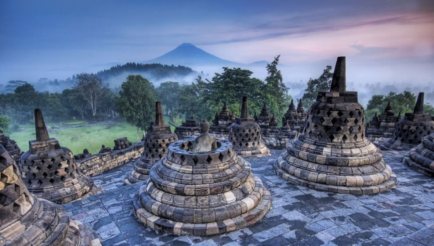 Hidden Buddhist Temple of Borobudur at Sunrise