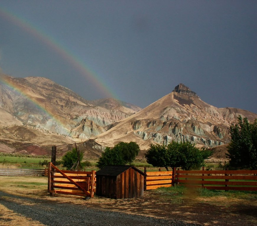 John Day Fossil Beds National Monument - View of Sheep Rock with a rainbow