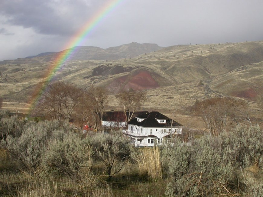 View of the Cant Ranch with rainbow
