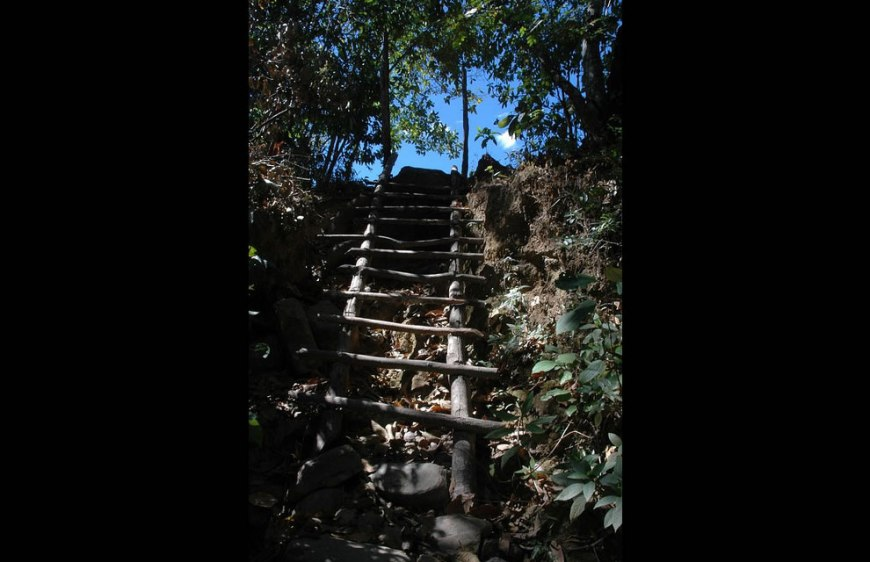 Ladder leading to an ancient plateau at Chapada dos Veadeiros National Park