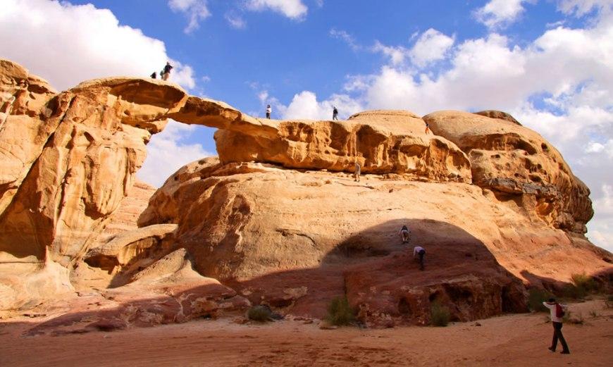 rock climbing in the desert of Jordan's wadi rum
