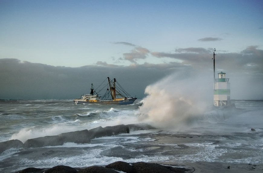 Smell the salt? Fishing boat coming in during a storm, winds a 130 km/h