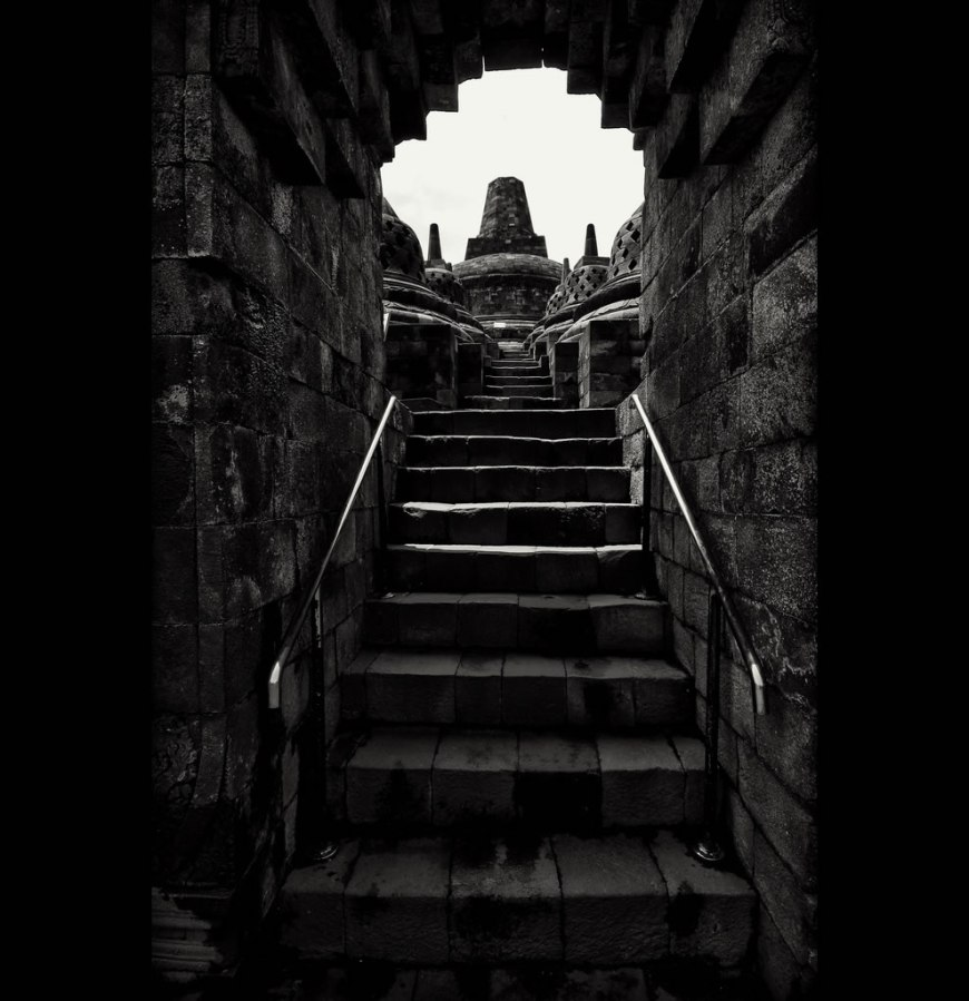 Stairs toward Borobudur Temple, central Java, Indonesia
