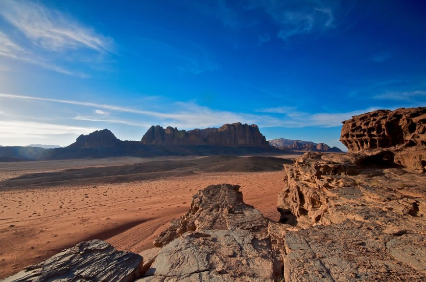 staring out at Wadi Rum desert and rock formation