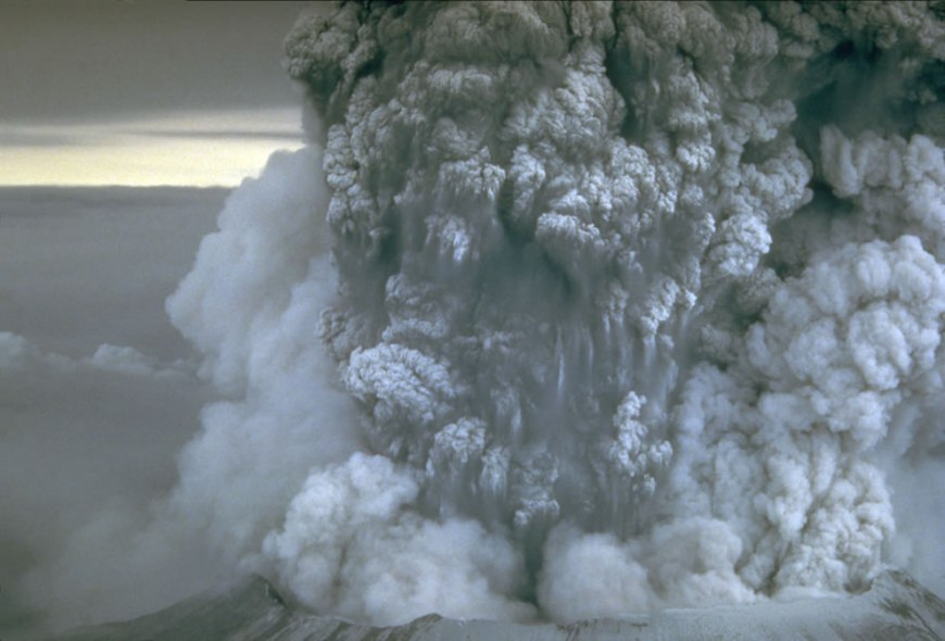 close up During Mount St. Helens' eruption on May 18th, 1980
