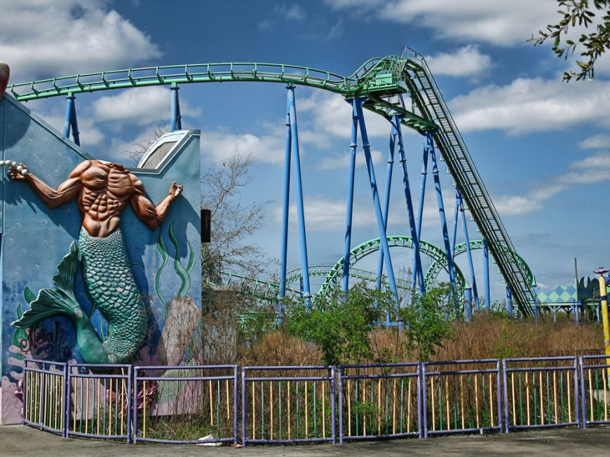 headless merman, overgrown roller coaster - abandoned six flags