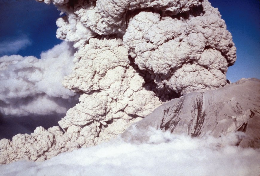 July 1980 Aerial view, pryoclastic flow emerging from Mount St. Helens' crater
