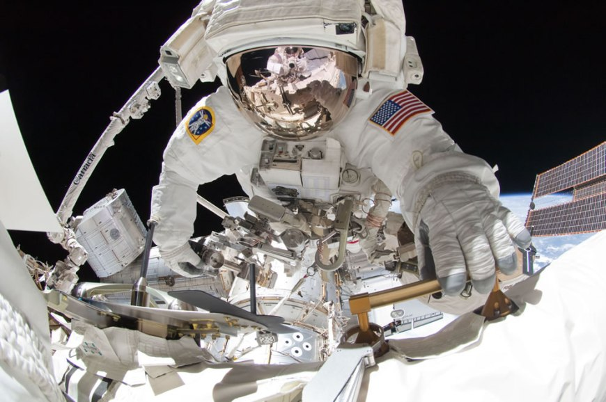 NASA astronaut Greg Chamitoff during the mission's fourth session of extravehicular activity (EVA) as construction and maintenance continue on the International Space Station