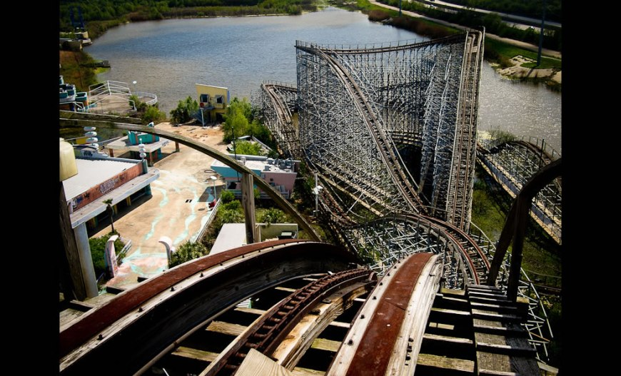 Rusted roller coaster tracks - view from the top of the tallest hill on the tallest roller coaster