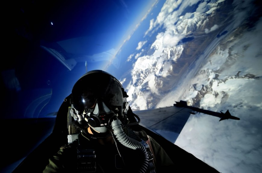 self portrait in an F-16 Fighting Falcon from the 18th Aggressor Squadron