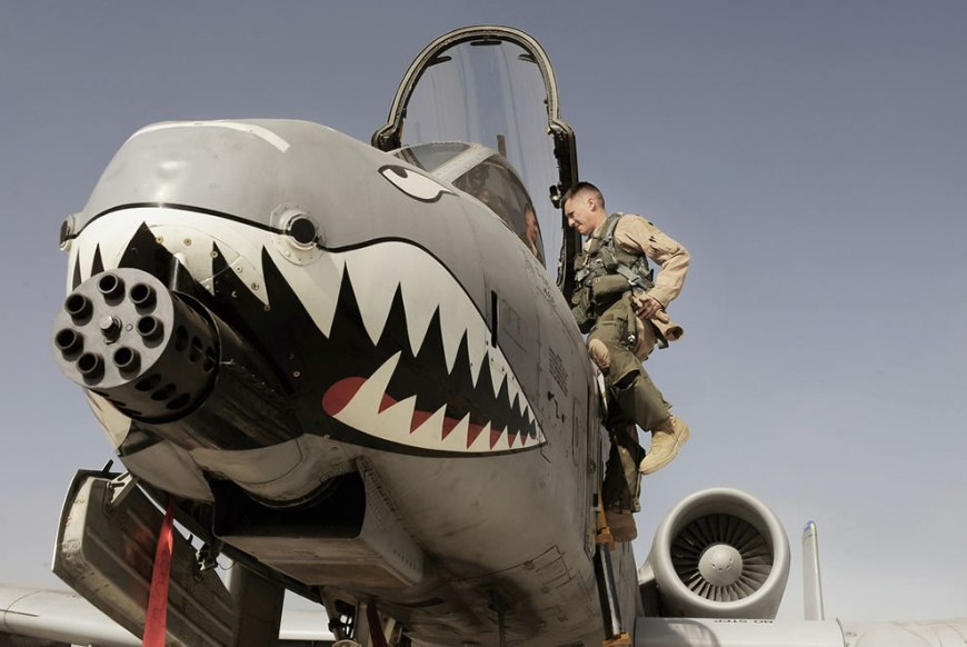 U.S. Air Force Maj. Loren Coulter exits an A-10C Thunderbolt II aircraft at Kandahar Airfield, Afghanistan