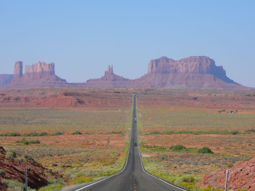 View of Monument Valley in Utah, looking south on highway 163 from 13 miles north of the Arizona - Utah State line