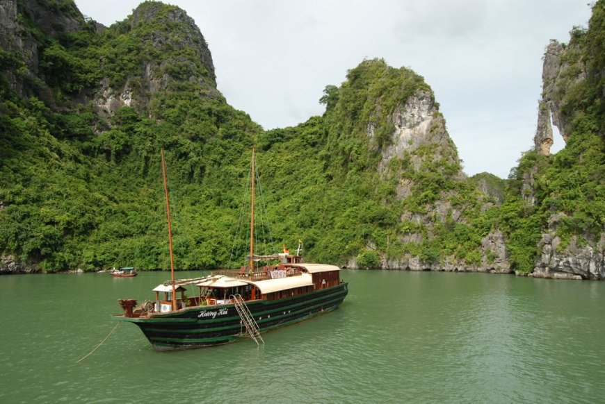 Anchored ship at Ha Long-bay, Vietnam
