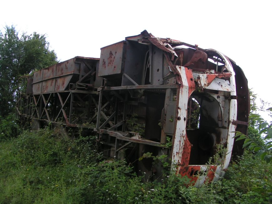 Battle of Gagra - Destroyed Georgian military bus near Gagra