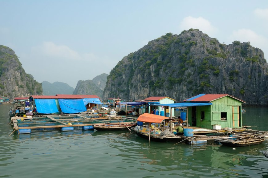 Floating fishing village in Ha-Long Bay, Vietnam