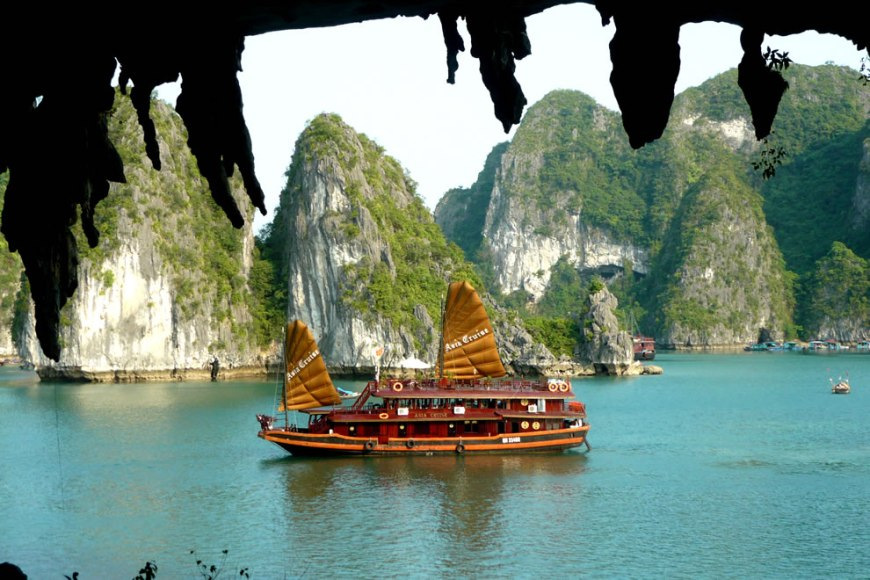 Halong bay, Vietnam is famous for its thousands of islands and many caves