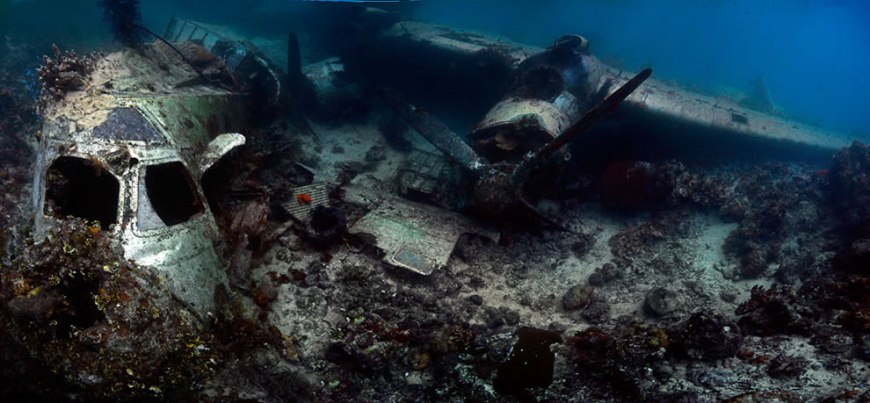Panorama of the Kawanishi Emily flying boat in Truk Lagoon, Micronesia