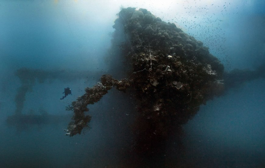 Panorama of the Yamagiri Maru. Truk Lagoon, Micronesia