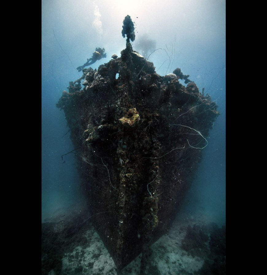 The bow of the Unkai Maru in Truk Lagoon, Micronesia