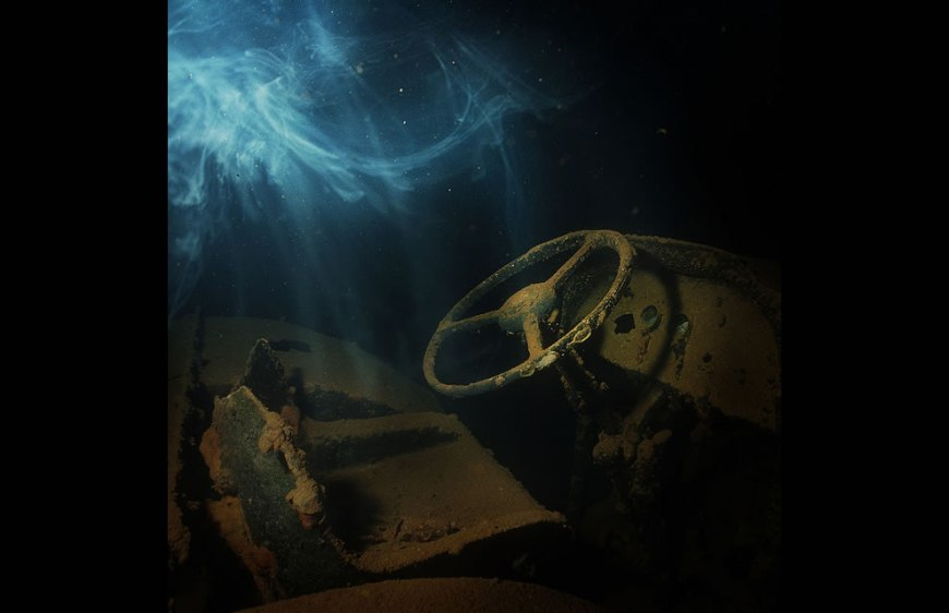 Tractor & Ghost in Hokai Maru, Truk Lagoon - haunted wrecks