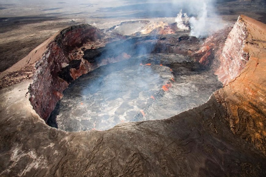 Aerial view of the perched lava lake in Pu`u `Ō `ō crater