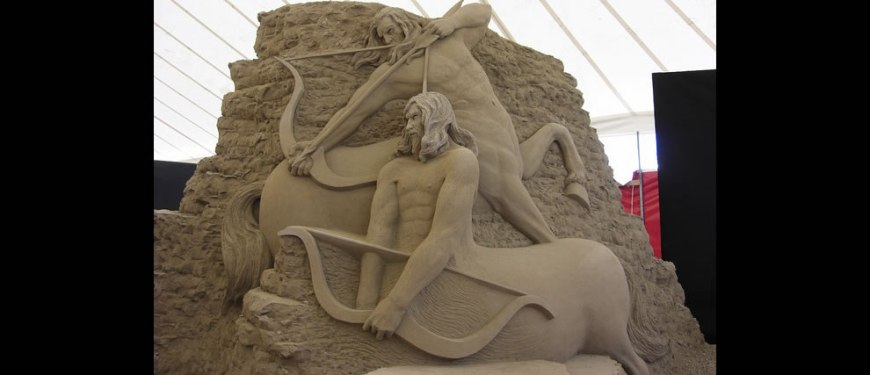 Circle 7 Jesolo sand sculpture The Centaurs from Dante's Inferno