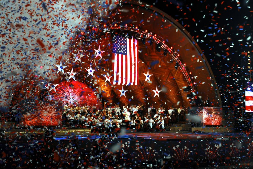 Confetti rains down at the completion of the song 'Stars and Stripes Forever' during the 35th Boston Pops Orchestra and Fireworks Spectacular