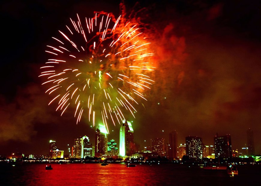 Fireworks light up the San Diego skyline during a 4th of July celebration