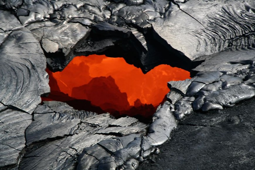 Lava exited the tube at the sea cliff and poured out onto the growing delta