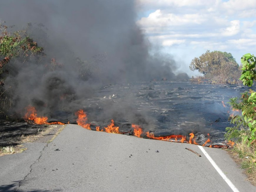 Lava flow crossing the road Volcanoes National Park