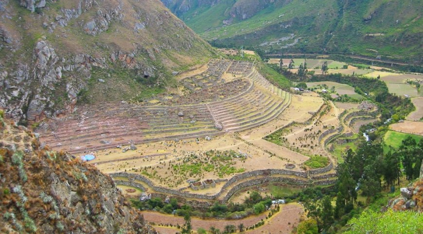 Llactapata, a ruined settlement along the Inca trail in Peru