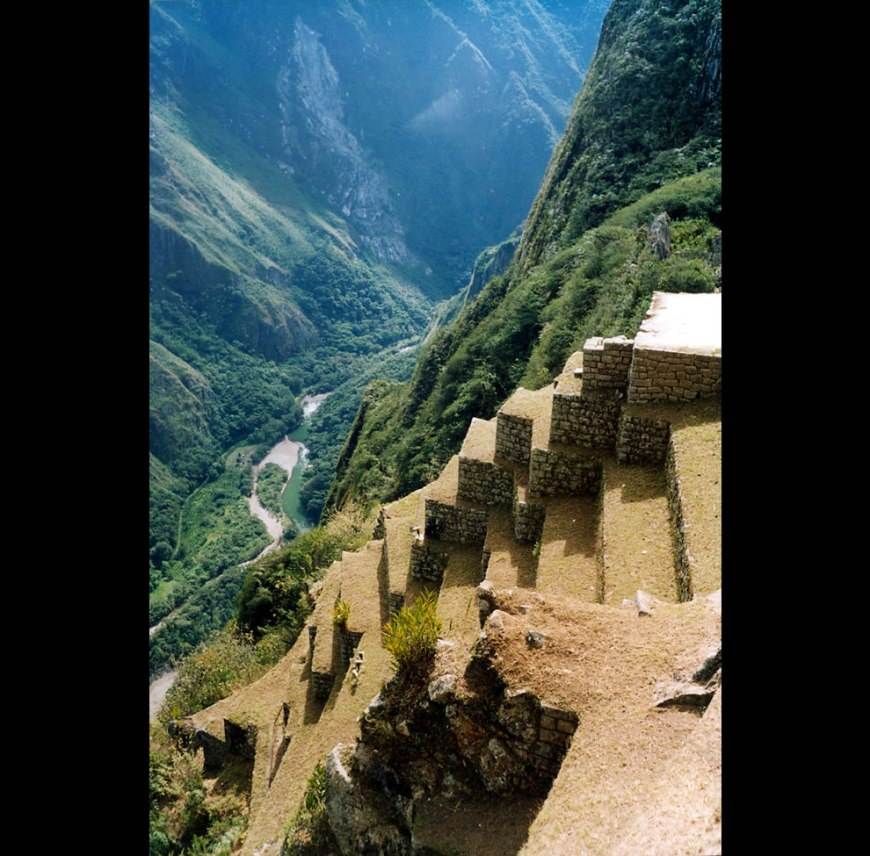 Machu Picchu, Peru. The Urubamba river seen 600 m from above