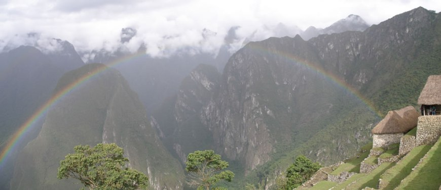 Rainbow over the Andes and Machu Picchu