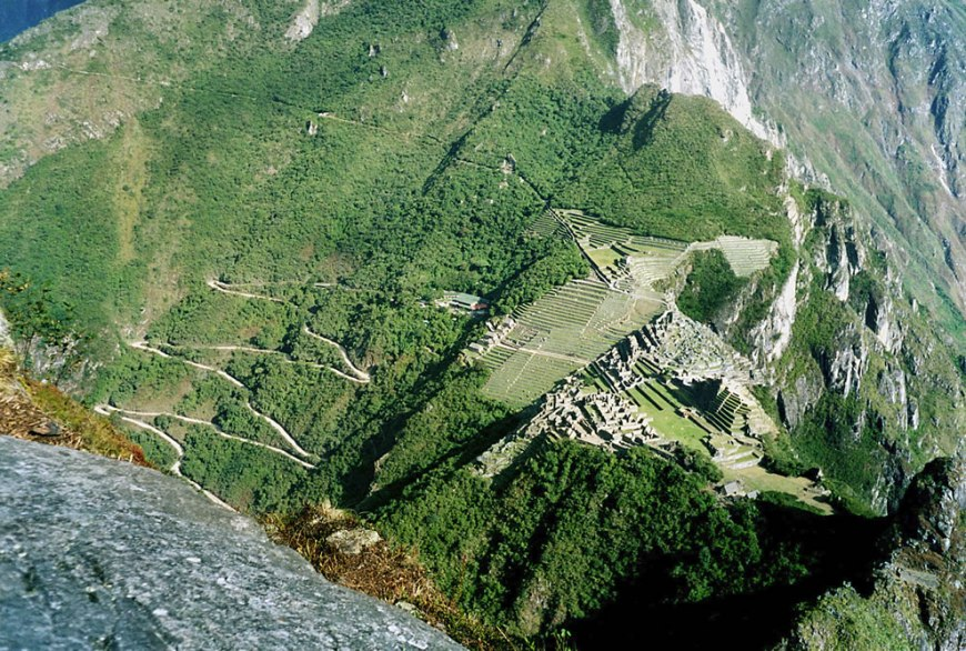 The old mountain, Machu Picchu, as seen from the Huayna Picchu, the young mountain
