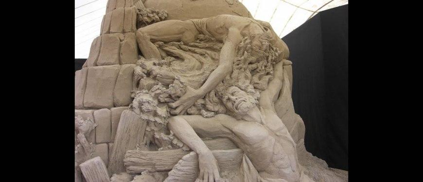 Ulysses' Shipwreck sand sculpture Jesolo Lido Dante's Hell