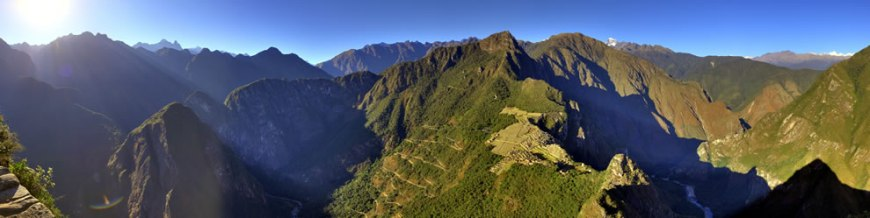 View of Machu Picchu from Huayna Picchu, showing the Hiram Bingham Highway used by tour buses to and from the town of Aguas Calientes